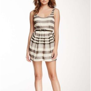 BCBGeneration Shimmer Striped Belted Dress